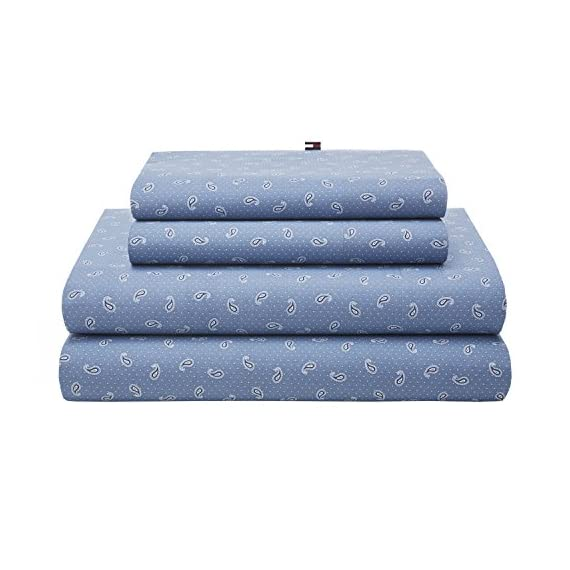 Tommy Hilfiger TH Tossed Paisley Queen Sheet Set, Blue - 4 piece set Cotton rich Set includes (1) fitted, (1) flat and (2) Std. Pillowcase - sheet-sets, bedroom-sheets-comforters, bedroom - 513bHYn4eaL. SS570  -
