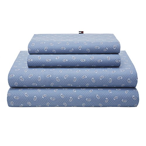 513bHYn4eaL - Tommy Hilfiger 22065171TH004 Tossed Paisley Sheet Set, Queen, Blue