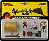 People with a tent, lantern, firepit with firewood and sleeping bags.Complete your scene and bring it to life with affordable works of art in O scale. Sculpted in fine detail and hand-painted, they add color, humor and interest to any layout....