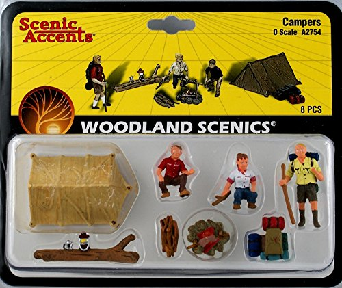 Campers (3) w/Tent & Accessories O Scale Woodland Scenics