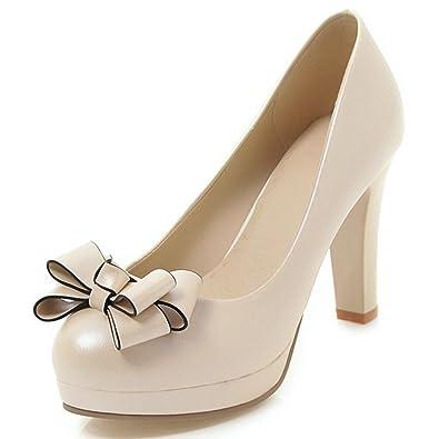 679d07315f3d7 DecoStain Womens Bow Tie High Heel Platform Pumps Work Party Dress Shoes
