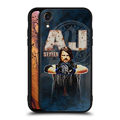 - Official WWE AJ Styles Superstars Black Hybrid Glass Back Case for iPhone XR