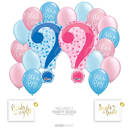 Andaz Press Gender Reveal Party Balloon Bouquet Set, Gender Reveal Party Supplies, He or She, What Will it be Party, Inflatable Foil Mylar and Latex Balloons, Bulk Balloons, Baby Reveal Shower Theme ()