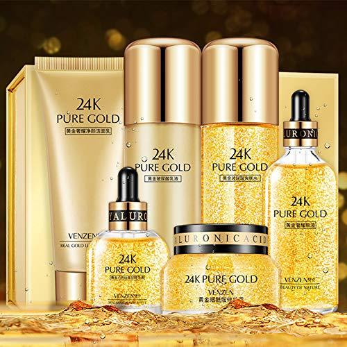 VENZEN 24K Pure Gold Hyaluronic Acid Skin Care Luxury Effect Cream Essence Toner Cleanser Moisturizing Vitamin E 6PCS…