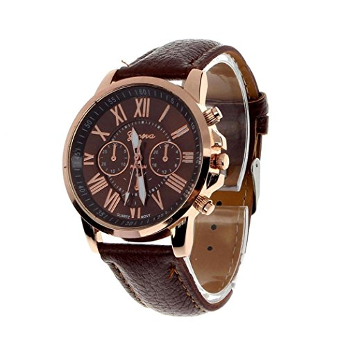 Winhurn Fashion Faux Leather Analog Quartz Women Wrist Watch with Roman Numerals (Brown)