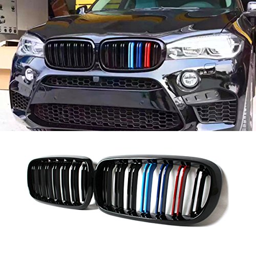 (F15 Grille, ABS Front Replacement Kidney Grill for X5 Series F15 X6 Series F16 X5M F85 X6M F86 (ABS, Gloss M Color))