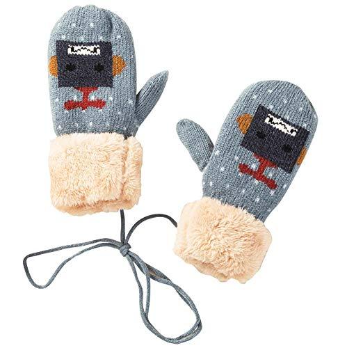 蜜階パラダイス1組男の子女の子暖かい柔らかい冬の手袋ファッションミトン、ライトブルー(4?10歳)