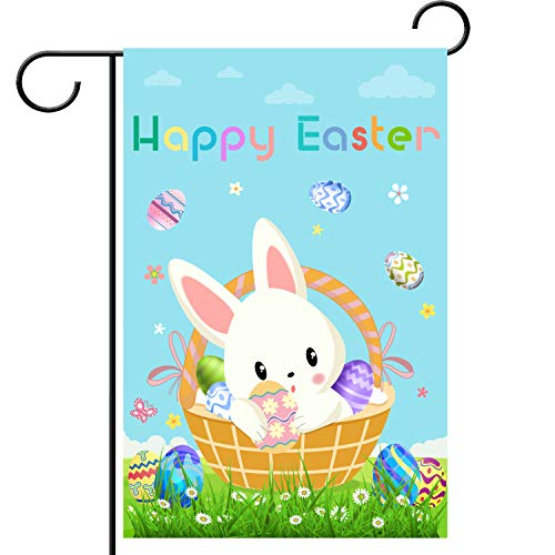 WEBSUN Happy Easter Day Garden Flag Double Sided 12 x 18 Inch, Polyester Easter Garden Flag for Outdoor Yard & Home Decorations -