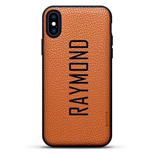 "Name: Raymond, Modern Font Style | Luxendary Leather Series Slim Edition Case w/Genuine Leather Back & 3D Printed Design for iPhone Xs Max (6.5"") in Clay Brown"