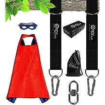 Tree Swing Straps Hanging Kit (Set of 2) - 5 ft Long Strap +2 Locking Carabiners +1 Swivel Hook +1 Superhero Cape For Kids - Fast & Easy Installation - Great For Swing Sets, Hammock, Web & Tire Swings