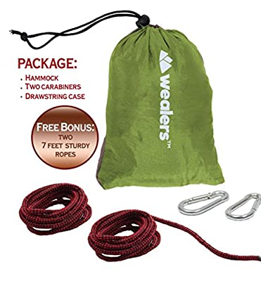 Wealers Camping Hammock - Lightweight Portable Parachute Nylon Fabric Travel Camping Hammock, Accommodate Two People, Hammock for Backpacking, Travel, Beach, Yard.