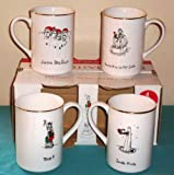 1999 Dayton Hudson Merry Masterpiece American Collection First Edition 24K Gold Trim Fine Porcelain Mugs Eat, Laugh, Drink, Chuckle
