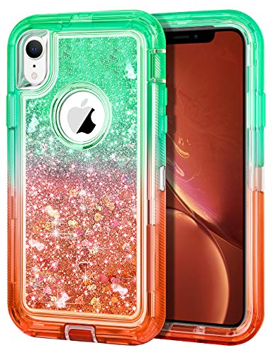 JAKPAK Glitter Case for iPhone XR Case for Girls Women Heavy Duty Shockproof Full Body Protective Case for iPhone XR Gradient Sparkle TPU Back Hard PC Bumper Cover for iPhone XR10R Green Red