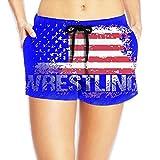 Deear Wrestling American Flag Women Quickly Drying Beach Waist Elastic Shorts Swim Trunk Boardshorts Swimwear With Pocket S
