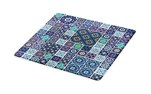 Ambesonne Ethnic Cutting Board, Traditional Mosaic Azulejo Portuguese Cultural Ceramic Tiles Folk Design, Decorative Tempered Glass Cutting and Serving Board, Large Size, Teal Indigo Navy Blue -