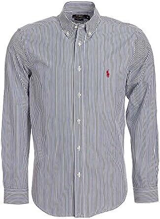 Polo by Ralph Lauren Hombre Camisa Azul Oscuro rayas roja Jinete Slim Fit (M): Amazon.es: Ropa y accesorios