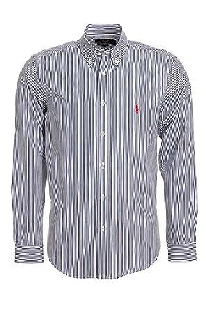 Polo by Ralph Lauren Hombre Camisa Azul Oscuro rayas roja Jinete ...
