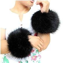 EQLEF® Soft Faux Fur Wrist Band Ring Cuffs Warmer For Women - Black