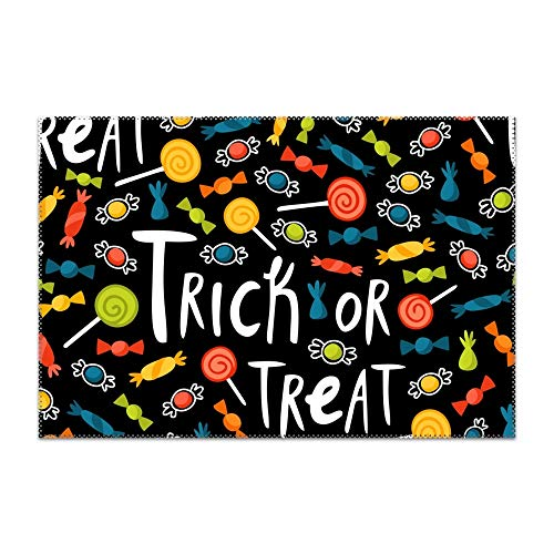 (jiajufushi Halloween Trick Treat Placemats Washable Placemats Dining Table Heat Resistant Kitchen Table Mats Eat Meal Mat Easy to)