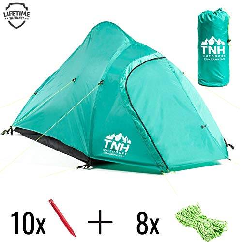 TNH Outdoors Rakaia Designs 2 Person Camping & Backpacking Tent with Carry Bag and Stakes - Portable Lightweight Easy Setup Hiking Tent