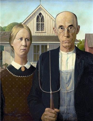 Home Comforts Laminated Poster American Gothic Grant Wood Painting Art Farmer Vivid Imagery Poster Print 24 x 36 ()