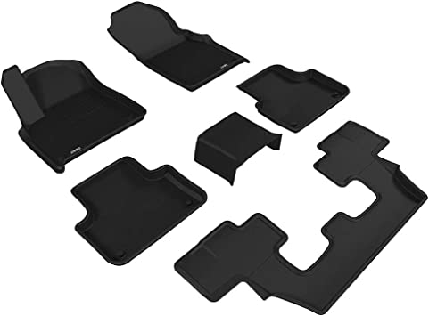 3D MAXpider Third Row Custom Fit All-Weather Floor Mat for Select Audi Q7 Models Black Kagu Rubber