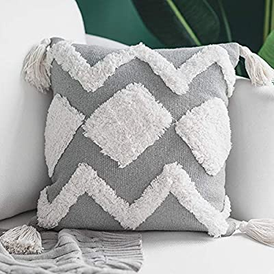 blue page Woven Tufted Tassel Throw Pillow Covers Fringe Sofa Couch Cushion Cover Decorative Square Cotton Pillows Cover ONLY (Cream 16X16'')
