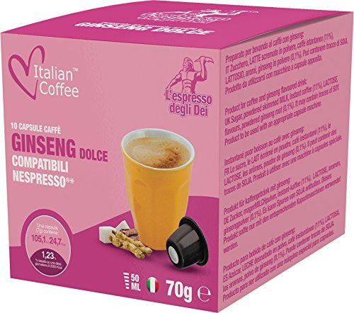 Ginseng Coffee - GINSENG Espresso Italian Coffee - Nespresso compatible capsules (60 capsules)