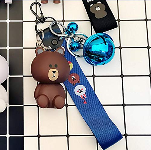 Thedmhom 1 Pcs New Cute Kawaii Cartoon Love Sitting Brown Bear Keychain Novelty Toy Gift Fashion Ornaments Coin Purse Korean Line Friends Face Wrist Strap Blue Bell Keyring Bag Buckle Phone Pendant (Coin Face Smile Purse)