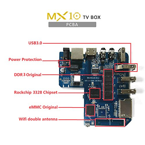 NEW R-TV BOX MX10 4G DDR3 RAM 32G ROM Rockchip RK3328 Android 8.1 Quad Core 64-Bit 4K USB 3.0 UHD WiFi H.265 TV Box Media Player by omikai (Image #3)