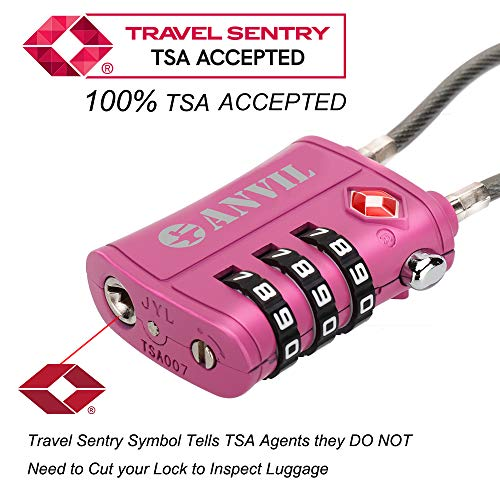 TSA Approved 3 Digit Luggage Cable Locks, Small Combination Padlock Ideal for Travel - 1, 2 & 4 Pack (Tricolor 6 Pack) by Anvil (Image #1)
