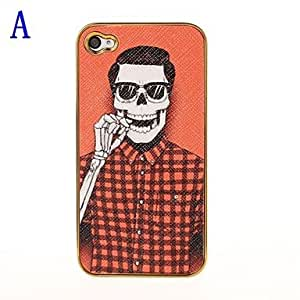 ZCLOrange Skull Pattern Pasting Skin Case for iPhone 4/4S , A