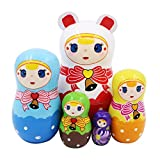 Set of 5 Cute Girl with Bow-Knot Bell Russian Nesting Dolls Wooden Handmade Painted Matryoshka Crafts for Birthday Christmas New Year Gift Home Decoration