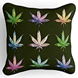 Lume.ly - Sweet Colorado Marijuana Weed Cannabis Pot Leaf Plant Throw Pillow Cushion Cover, Unique Luxury Designer Vibrant Art Home Decor (Black Multi Color) (18x18 inches)