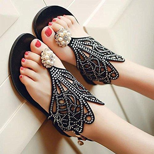 Chanclas, sandalias planas huecos pen diamantes de imitación de la moda de las sandalias de la playa ocasional Black