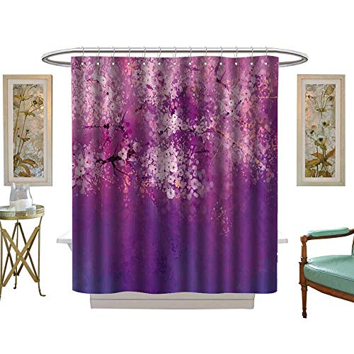 luvoluxhome Shower Curtain Collection by Watercolor Flower Asian Japanese Cherry Blossom with Hazy Romantic Paint Fuchsia Purple W36 x L72 Custom Made Shower Curtain (Lauren Conrad Collection)