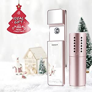 ❉ Year-end Gift❉OKACHI GLIYA Handy Nano Face Mist Spray Facial steamer for Hydrating, Eyelash Extension with Makeup Mirror USB Rechargeable Gift Package