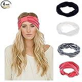 Ever Fairy Women Elastic Turban Head Wrap Headband Twisted Hair Band (4 Color Pack G)