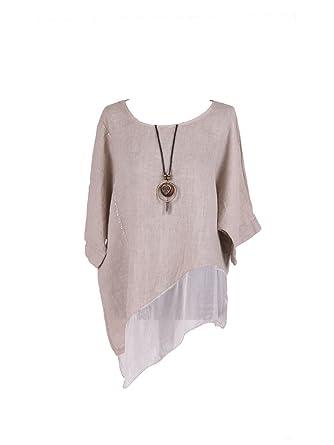 64a9211b083cf LushStyleUK New Ladies Italian Asymmetric Linen Tunic Top Women Lagenlook  Top Plus Sizes