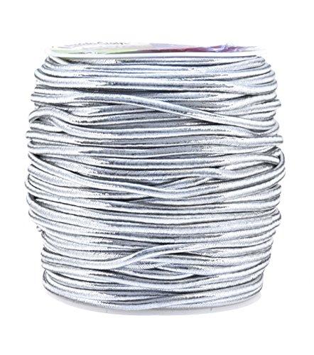 Mandala Crafts 1mm 1.5mm 2.5mm Jewelry Making Gift Wrap Ribbon Stretch Metallic Tinsel Elastic Cord (2.5mm 54 Yards Silver)