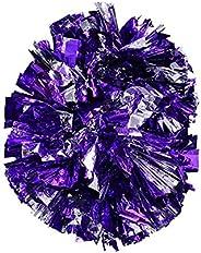 1Pair Cheerleading Pom Poms, Plastic Cheerleader Cheer Party Sports Dance Pom for Team Spirit Cheering