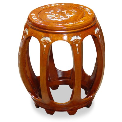 Rosewood Furniture China (China Furniture Online Rosewood Stool, 18 Inches High Drum Style with Floral Motif Mother Pearl Inlay in Natural Finish)