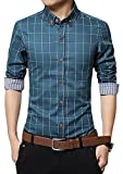 LOCALMODE Men's 100% Cotton Long Sleeve Plaid Slim Fit Button Down Dress Shirt,Acid Blue,Medium