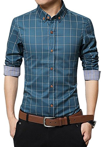 Mens Dress Shirt Down Button (LOCALMODE Men's 100% Cotton Long Sleeve Plaid Slim Fit Button Down Dress Shirt,Acid Blue,Medium)