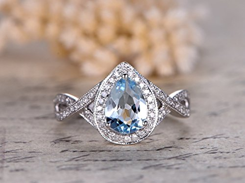 6x8mm Pear Shaped Cut Natural Aquamarine Blue Gemstone Engagement Ring Diamond Solid 14k White Gold Halo Split Shank Wedding Rings Art Deco Loop Cross Antique Bridal Anniversary Gift March Birthstone ()