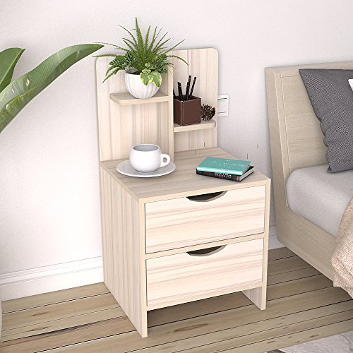 (DlandFurniture Bedside Table with Drawer and Shelf Storage Nightstand Table Side Table end Table,Maple CT2-2-MP)