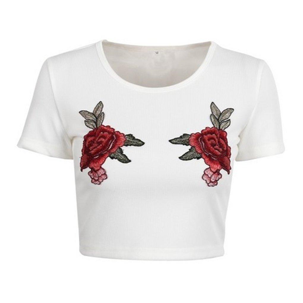 Babysbreath Rose ricamata floreale Top Donne Donne Top lavorato a maglia Elastic estate manica corta T-shirt