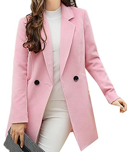 Papijam Womens Double Breasted One Button Outwear Winter Wool Blend Coat Pink Large