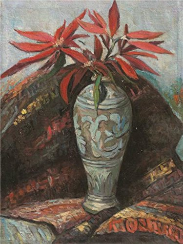 Oil Painting 'Tu Ke,Christmas Flowers In The Vase,20th Century' Printing On Ideal Effect Canvas , 16x21 Inch / 41x54 Cm ,the Best Powder Room Gallery Art And Home Decoration And Gifts Is This Imitations Art DecorativePrints On Canvas