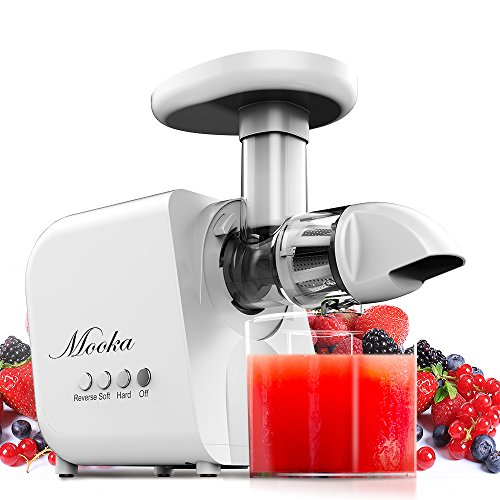 Juicer, Mooka Slow Masticating Juicer Extractor, Juice Fountain, Cold Press Juicer Machine with Quiet Motor & Reverse Function, High Juice Yield, Extract Healthy Nutrition from Fruits and Vegetables